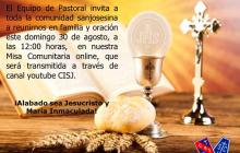 Invitación Misa Comunitaria Online Agosto